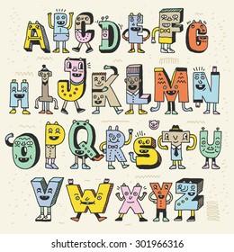 Fantastic Funny Alphabet. Wacky Doodle Letters Design Color Set. Vector Hand Drawn Illustration.