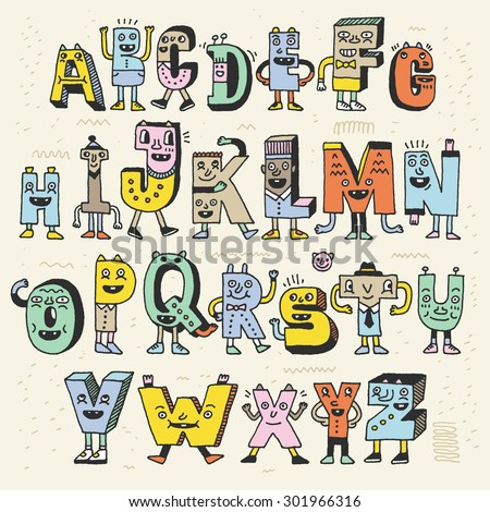 fantastic funny alphabet wacky doodle letters stock vector royalty