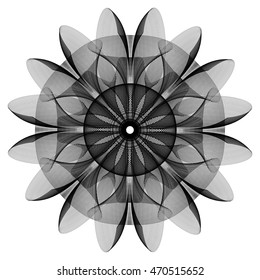 Fantastic geometrical flower in black and white colors. Sacred geometry style. Vector illustration.
