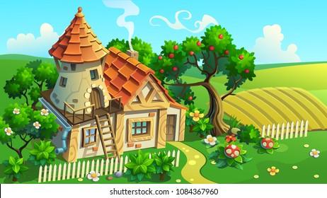 Fantastic House-tower in garden. Vector illustration.