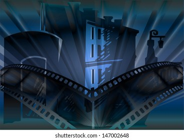 Fantastic illustration a film and a city. Poster for Cinema, ocean, planets, islands. A vector template of brochure for cinema. The cinema ticket, eps10