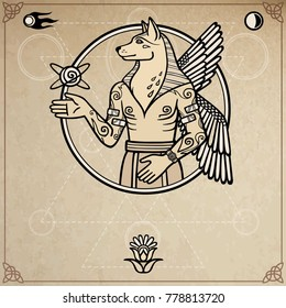 Fantastic image of a winged dog, mythological character, pagan god with a human body. Background - imitation old paper, space symbols. Place for the text. Vector illustration.