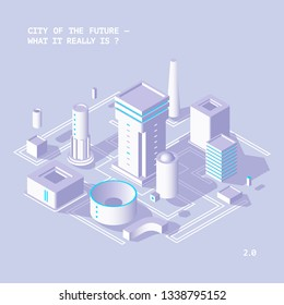 Fantastic isometric smart city of the future from geometric shapes in pastel color