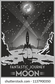 Fantastic Journey to the Moon. Vector Retro Futuristic Space Poster Stylization