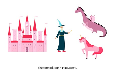Fantastic kingdom or fairytale images set such as castle, unicorn, witch and dragon vector illustration isolated on white background. Magical stories clip art.