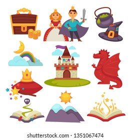 Fantastic land and fairy tale characters isolated objects vector treasure chest princess and prince with hat and cauldron rainbow and moon castle and dragon crown and magic book mountain fantasy