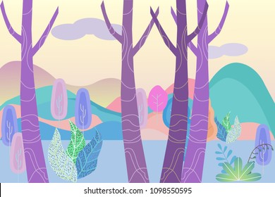 Fantastic landscape in a foggy haze in the early morning. Cartoon horizontal vector illustration of morning forest and distant mountains, vector illustration.