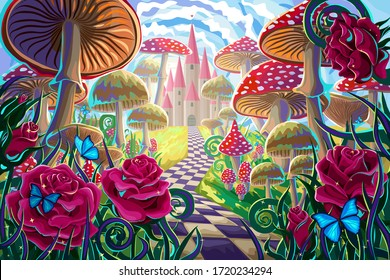 "fantastic landscape with mushrooms, beautiful old castle, red roses and butterflies. illustration to the fairy tale ""Alice in Wonderland"""