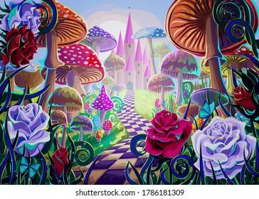きのこ、美しい古城、赤と白のバラ、蝶などの幻想的な風景。 おとぎ話「不思議の国のアリス」のイラスト