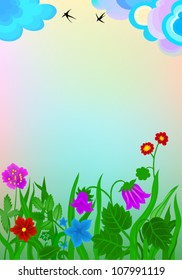 Fantastic meadow with flowers