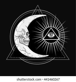 The fantastic moon, in the form of a human skull. Esoteric symbol, sacred geometry. The monochrome drawing isolated on a black background. Vector illustration. Print, posters, t-shirt, textiles.