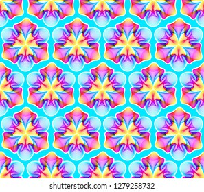 Fantastic neon flower seamless pattern, abstract shape with lots of blending lines and gradient color. Vector illustration. Bright neon 80s colors.
