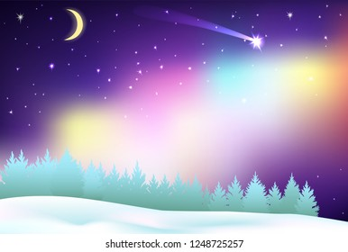 Fantastic Northern Lights over the pine forest and winter field. Fake of Aurora Borealis. Halo around the moon. Stars in the sky and beautiful shooting star tonight. Background for Merry Christmas.