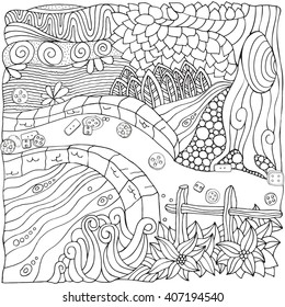 Fantastic rural landscape. Doodle, zentangl? style. Black and white. Old tree. River flows under the bridge. Coloring book page. Hand-drawn vector.  Zentangle elements. Zen art.
