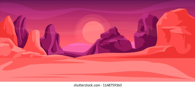 A fantastic scene of space alien mountain scenery in crimson tones. Cosmic area,someone planet surface. Cartoon game location. Background for games apps or mobile development.