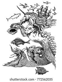 Fantastic sea creatures. Mermaid unicorn blows conch shell. Fish, dolphins, whale, ancient ship. Vintage engraving style hand-drawn ink pen vector illustration. Tattoo design, textile print, poster.