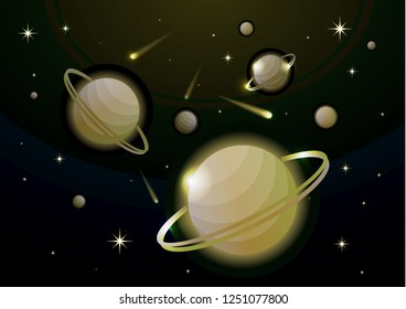 Fantastic space background with planets with ring, stars and comets. Astronomy and space, celestial objects, astrology and the universe, the space of galaxies and cosmic lights. Vector illustration.