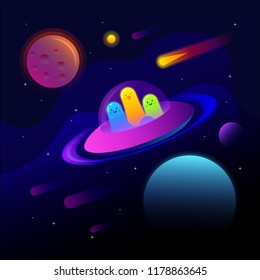 Fantastic space background with UFO and good extraterrestrials. Extraterrestrial technology. Vector illustration