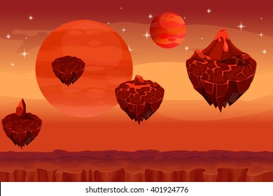 Fantastic space landscape, martian alien game seamless background. Panorama island, magma mountain, volcano and fantastic planet, lava nature. Vector illustration