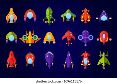 Fantastic spaceships set, ufo and rockets in space vector Illustration