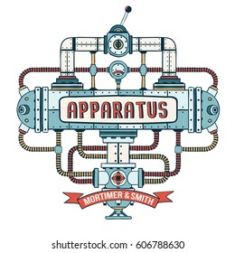 Fantastic steampunk apparatus with  pipes, cables,  lever and valve. Colored Vector illustration.