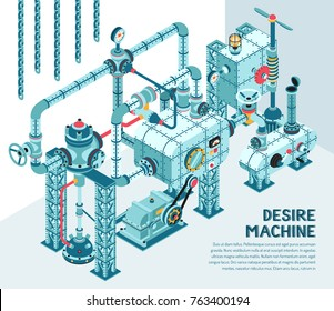 Fantastic steampunk industrial machine of intricate design - with pipes, fittings, adapters, flanges, valves. Isometric illustration.
