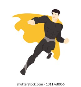 Fantastic superhero flying. Man with muscular body wearing bodysuit and cape. Comic character with super power. Brave and strong superhuman. Colorful vector illustration in flat cartoon style.