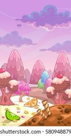 Fantastic sweet landscape. Candy land vector illustration.