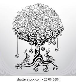 Fantastic tree in an ornament
