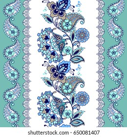 Fantastic turquoise floral ornament with paisley.  Floral wallpaper. Decorative ornament for fabric, textile, wrapping paper.