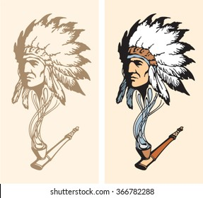Fantasy about Indian chief face has appeared out of the smoke from peace-pipe. Hand drawn contour illustration. Smoking vintage concept.