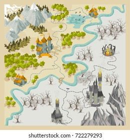Fantasy Adventure map elements with colorful doodle hand draw in vector illustration - map set2