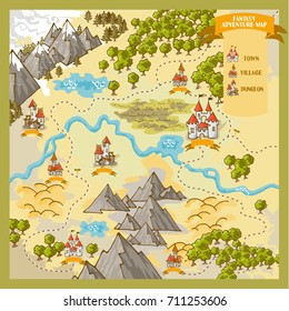 Fantasy Advernture map elements with colorful doodle hand draw in vector illustration
