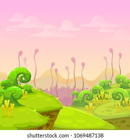 Fantasy alien landscape illustration. Cartoon vector nature background for game design.