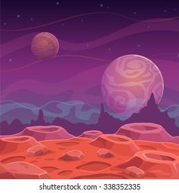 Fantasy alien landscape, vector space background
