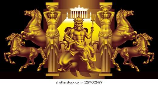 Fantasy with the ancient greek god of the seas Poseidon