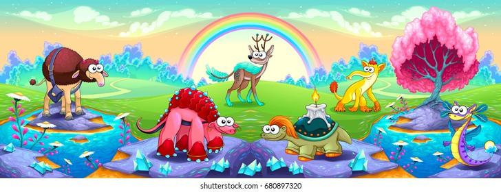 Fantasy animals in a landscape of dreams. Vector fantasy illustration.