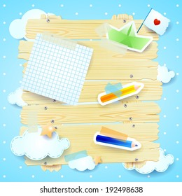 Fantasy background with paper elements, vector