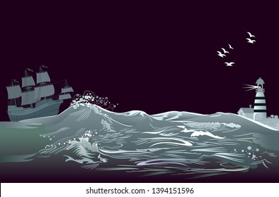 Fantasy background for poster for tourism company. Illustration of stormy sea waves with ancient sailboat Spanish galleon and lighthouse at night. Modern print. Vector cartoon image.