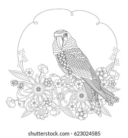 Fantasy bird in flowers. Coloring book for adults and children. Black and white vector illustration.