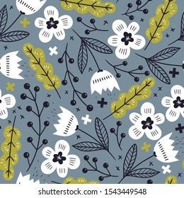 fantasy blooms with hand drawn elements. vector floral seamless pattern with abstract tulips and feathers on a grey background