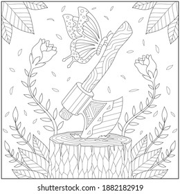 Fantasy butterfly and lumber axe on tree root with flower and leaf. Learning and education coloring page illustration for adults and children. Outline style, black and white drawing  - Shutterstock ID 1882182919
