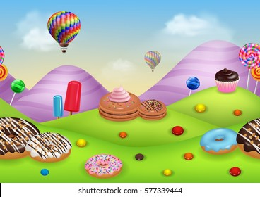 Fantasy candyland with dessrts and sweets