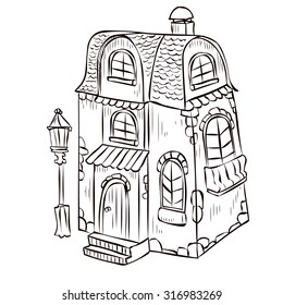 Fantasy cartoon Fairy tale house with amazing architecture. Hand drawn vector illustration