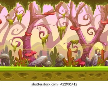Fantasy cartoon forest seamless landscape, ready for game animation, vector background with separated layers for parallax effect, game design asset, cool fantastic nature wallpaper