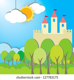 Fantasy Castle cardboard card in morning background, create by vector