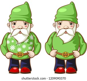 Fantasy character. Christmas bearded gnomes in fashionable costumes. Vector.