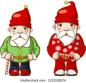 Fantasy character. Christmas gnome and  Santa Claus in fashionable costumes with  candy canes. Vector.