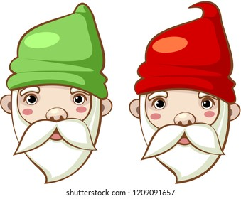 Fantasy character. Portraits of gnomes in colorful caps. Vector.