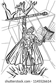 Fantasy character - summoner coloring page